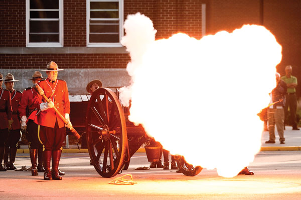 Cannon fire at Sunset Ceremonies