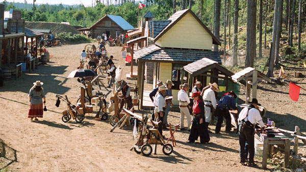"""Main Street, Boom Town; the wheeled carts hold the rifles and """"ammunition"""""""