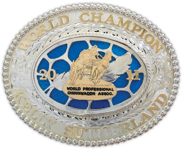 Sterling silver and gold 2011 World Champion buckle presented to Kelly Sutherland.